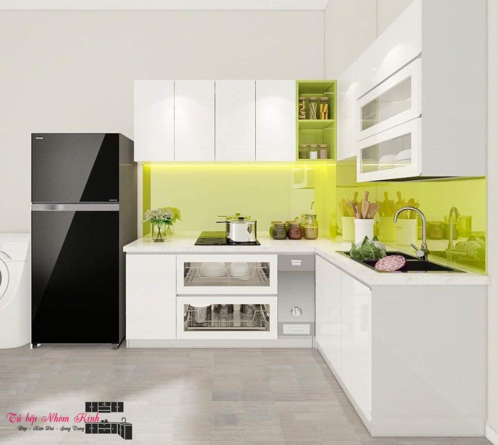 thiết kế tủ bếp nhôm kính đẹp