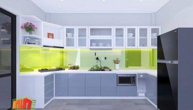 thiết kế tủ bếp nhôm kính