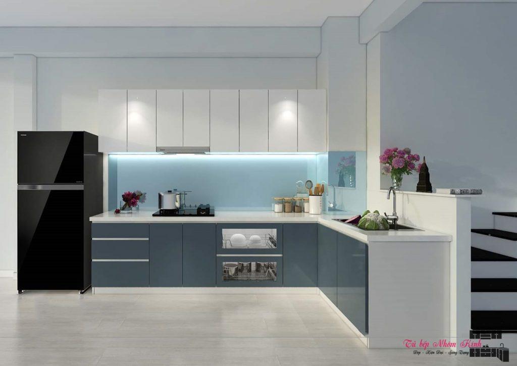 mẫu thiết kế tủ bếp nhôm kính sơn tĩnh điện