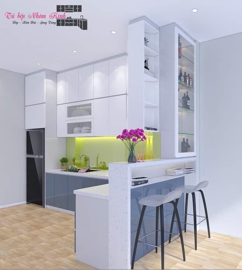 thiết kế mẫu tủ bếp nhôm kính đẹp
