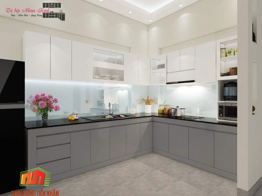 mẫu thiết kế tủ bếp nhôm kính đẹp