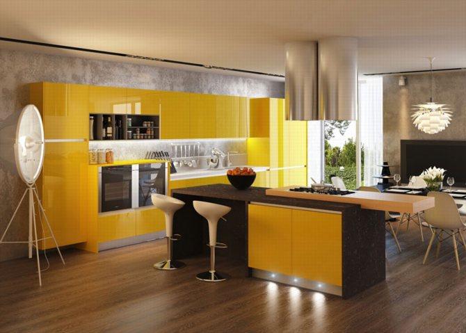 mẫu thiết kế tủ bếp màu vàng